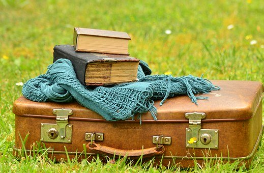 Luggage, Leather Suitcase, Old, Books