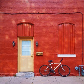 Red, House, Home, Home Sweet Home, Bike