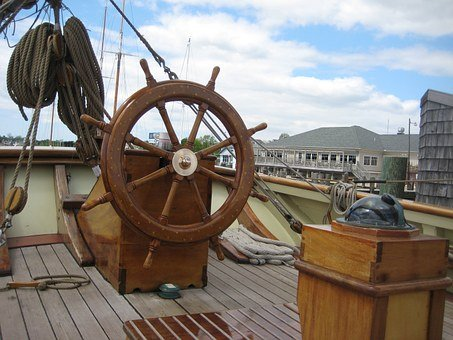 Boat, Ship, Wheel, Deck, Captain'S Area