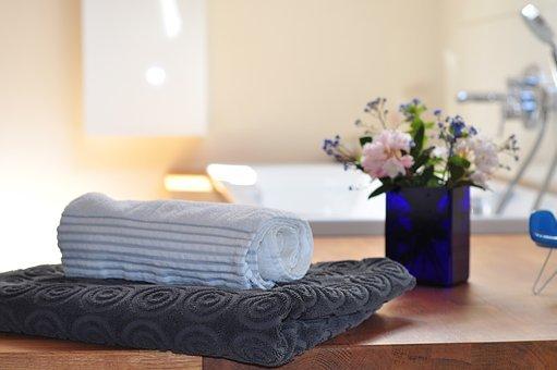 Bathroom, Towels, Flowers, Bathtub, Spa