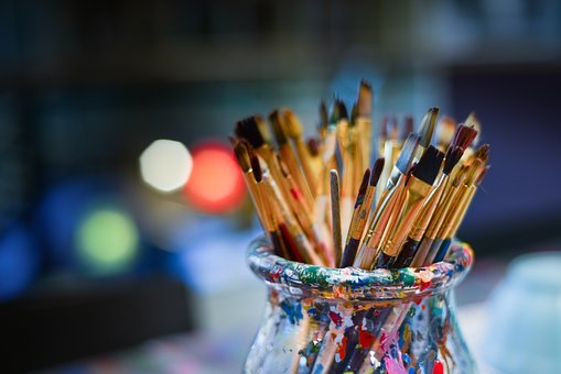 Brushes, Painter, Work Shop, Bowl